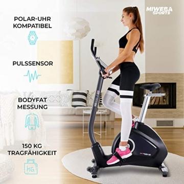 Miweba Sports Ergometer ME500 Trimmrad Cardio Heimtrainer - Streaming App - 14 Kg Schwungmasse - Magnetbremse - Pulsmesser (Black) - 7