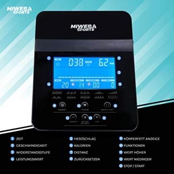 Miweba Sports Ergometer ME500 Trimmrad Cardio Heimtrainer - Streaming App - 14 Kg Schwungmasse - Magnetbremse - Pulsmesser (Black) - 8