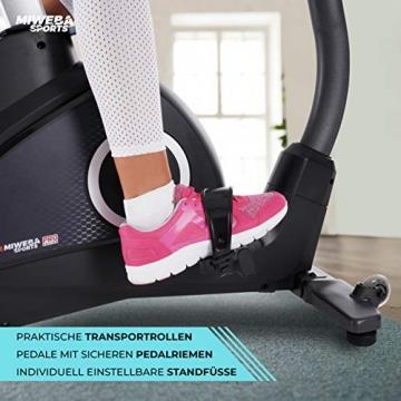 Miweba Sports Ergometer ME500 Trimmrad Cardio Heimtrainer - Streaming App - 14 Kg Schwungmasse - Magnetbremse - Pulsmesser (Black) - 9
