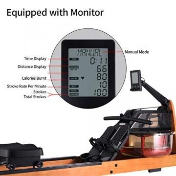 MOBI FITNESS Rudergerät Hölzerne Rudermaschine mit LCD-Display Benutzer bis 198 cm/120 kg Rower Fitnessgeräte für zu Hause - 2
