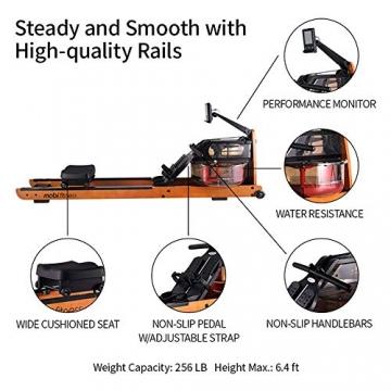 MOBI FITNESS Rudergerät Hölzerne Rudermaschine mit LCD-Display Benutzer bis 198 cm/120 kg Rower Fitnessgeräte für zu Hause - 4