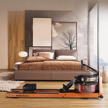 MOBI FITNESS Rudergerät Hölzerne Rudermaschine mit LCD-Display Benutzer bis 198 cm/120 kg Rower Fitnessgeräte für zu Hause - 5