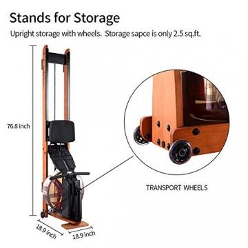 MOBI FITNESS Rudergerät Hölzerne Rudermaschine mit LCD-Display Benutzer bis 198 cm/120 kg Rower Fitnessgeräte für zu Hause - 6