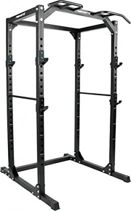 MSPORTS Power Rack Premium Cage H/B/T - 215x120x140 cm Kraftstation bis 200 kg Hantel Käfig Squat Fitnessstation (Power Rack) - 1