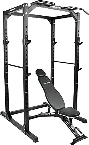 MSPORTS Power Rack Premium Cage H/B/T - 215x120x140 cm Kraftstation bis 200 kg Hantel Käfig Squat Fitnessstation (Power Rack + Hantelbank) - 1