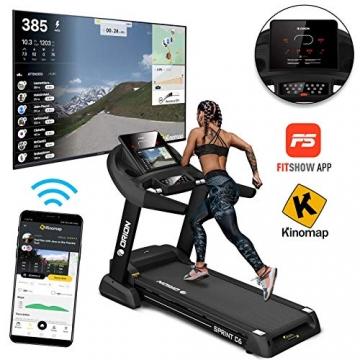 Orion Fitness Sprint C6 Laufband klappbar elektrisch bis 150kg, Bluetooth, FitShow, Kinomap automatische Steigung auf 15 Ebenen,LED-Computer, 1-20km/h, Motor mit 4PS(5PS), Laufgurtfläche 140 * 50cm - 2