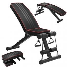 OUNUO Klappbare Hantelbank Schrägbank Multifunktion Trainingsbank Fitnessbank mit hochwertiger angenehmer Polsterung, Verstellbarer Rückenlehne, elastischer Seils, Flach-/Sit Up-Bank für Heimtraining - 1