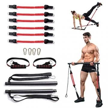 Papepipo Adjustable Pilates Bar Kit - Tragbarer Yoga-Übungsstab mit Widerstandsbändern, Ganzkörper-Krafttrainingsgerät - 1