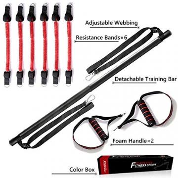 Papepipo Adjustable Pilates Bar Kit - Tragbarer Yoga-Übungsstab mit Widerstandsbändern, Ganzkörper-Krafttrainingsgerät - 5