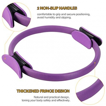 Pilates Ring Magic Circle, Yoga Ring mit 2 rutschfesten Griffen Pilates Circle Gewichtsverlust Körperstraffung Pilates Ringe 38cm - 2