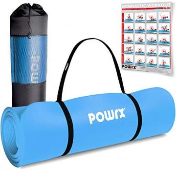 POWRX Gymnastikmatte Premium inkl. Trageband + Tasche + Übungsposter GRATIS I Hautfreundliche Fitnessmatte Phthalatfrei 190 x 60, 80 oder 100 x 1.5 cm I versch. Farben Yogamatte (Blau, 190 x 100 x 1.5 cm) - 1