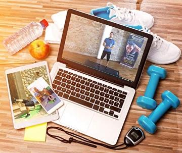POWRX Gymnastikmatte Premium inkl. Trageband + Tasche + Übungsposter GRATIS I Hautfreundliche Fitnessmatte Phthalatfrei 190 x 60, 80 oder 100 x 1.5 cm I versch. Farben Yogamatte (Blau, 190 x 100 x 1.5 cm) - 6