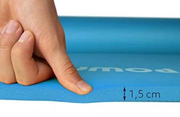POWRX Gymnastikmatte Premium inkl. Trageband + Tasche + Übungsposter GRATIS I Hautfreundliche Fitnessmatte Phthalatfrei 190 x 60, 80 oder 100 x 1.5 cm I versch. Farben Yogamatte (Blau, 190 x 100 x 1.5 cm) - 7