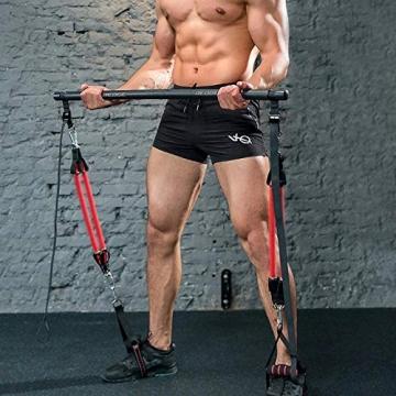 Professionelles Pilates Bar Kit mit 6 abnehmbaren, elastisch verstellbaren Widerstandsbändern Pilates Stick mit Fußschlaufe für Yoga, Stretch, Sculpt, Twisting, Sit-Up 180 lbs - 2