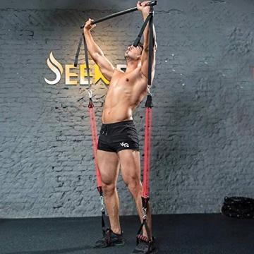 Professionelles Pilates Bar Kit mit 6 abnehmbaren, elastisch verstellbaren Widerstandsbändern Pilates Stick mit Fußschlaufe für Yoga, Stretch, Sculpt, Twisting, Sit-Up 180 lbs - 3
