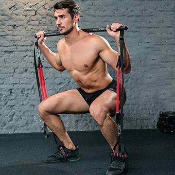 Professionelles Pilates Bar Kit mit 6 abnehmbaren, elastisch verstellbaren Widerstandsbändern Pilates Stick mit Fußschlaufe für Yoga, Stretch, Sculpt, Twisting, Sit-Up 180 lbs - 1