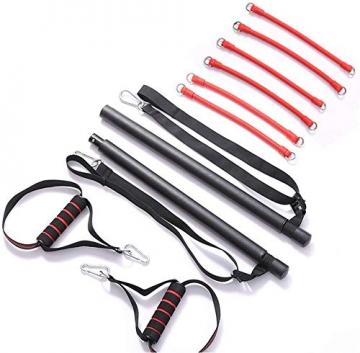 Professionelles Pilates Bar Kit mit 6 abnehmbaren, elastisch verstellbaren Widerstandsbändern Pilates Stick mit Fußschlaufe für Yoga, Stretch, Sculpt, Twisting, Sit-Up 180 lbs - 6