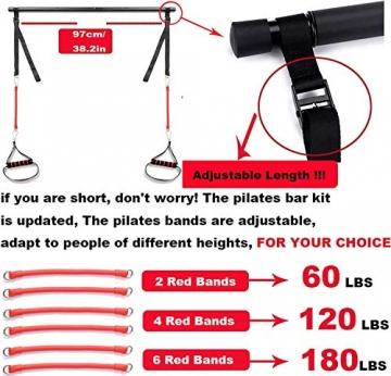 Professionelles Pilates Bar Kit mit 6 abnehmbaren, elastisch verstellbaren Widerstandsbändern Pilates Stick mit Fußschlaufe für Yoga, Stretch, Sculpt, Twisting, Sit-Up 180 lbs - 7