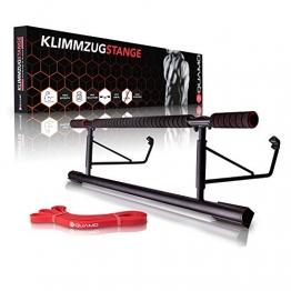 QUAMO® Premium Klimmzugstange – Für Türrahmen ohne Schrauben – Training zu Hause bis [200kg] – 20cm höher im Türrahmen für mehr Bewegungsfreiheit – Sicherer Halt – Fitnessstange mit Schaumstoff - 1
