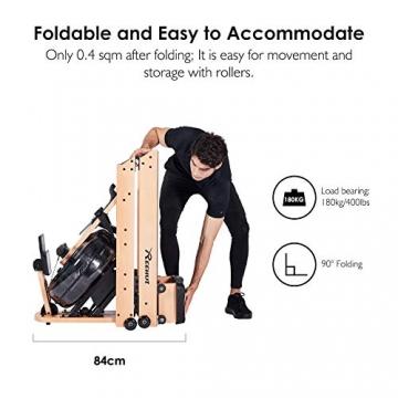 Reehut Faltbares Rudergerät für Zuhause, Wasser Rudergerät Waterrower mit Bluetooth, Kostenloser App und LCD - Bildschirm, Holz Klappbares Rudergerät mit 18L Wassertank Rowing Machine - 2