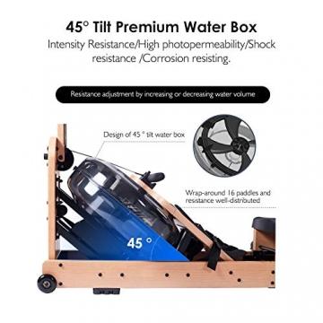 Reehut Faltbares Rudergerät für Zuhause, Wasser Rudergerät Waterrower mit Bluetooth, Kostenloser App und LCD - Bildschirm, Holz Klappbares Rudergerät mit 18L Wassertank Rowing Machine - 3