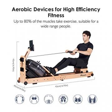 Reehut Faltbares Rudergerät für Zuhause, Wasser Rudergerät Waterrower mit Bluetooth, Kostenloser App und LCD - Bildschirm, Holz Klappbares Rudergerät mit 18L Wassertank Rowing Machine - 4