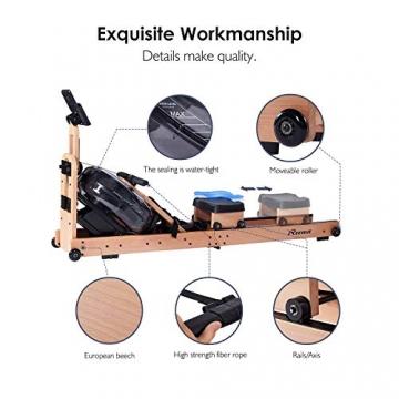 Reehut Faltbares Rudergerät für Zuhause, Wasser Rudergerät Waterrower mit Bluetooth, Kostenloser App und LCD - Bildschirm, Holz Klappbares Rudergerät mit 18L Wassertank Rowing Machine - 5