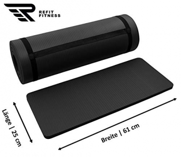 REFIT HIGH Performance Matte 183 x 61 + Pad 25 x 61 cm Schwarz Black 1,5 cm Fitness Gymnastik Yogapad Kniepad Trageband Fitness Yoga Gymnastik Pilates Turnen - 2