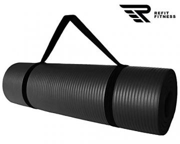 REFIT HIGH Performance Matte 183 x 61 + Pad 25 x 61 cm Schwarz Black 1,5 cm Fitness Gymnastik Yogapad Kniepad Trageband Fitness Yoga Gymnastik Pilates Turnen - 4