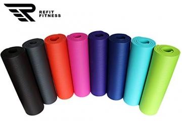 REFIT HIGH Performance Matte 183 x 61 + Pad 25 x 61 cm Schwarz Black 1,5 cm Fitness Gymnastik Yogapad Kniepad Trageband Fitness Yoga Gymnastik Pilates Turnen - 5