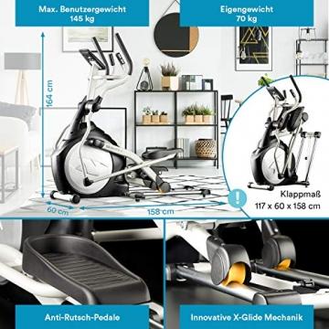 skandika Crosstrainer CardioCross Carbon Pro Ellipsentrainer mit 23,5kg Schwungmasse und Magnetbremssystem | Multifunktionscomputer, Pulsgut, Bluetooth, Tablet-Halterung, Kinomap | bis 145kg (Silber) - 3