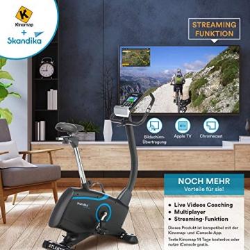 skandika Ergometer Fahrrad Atlantis   Heimtrainer mit App Steuerung (Kinomap, iConsole), Bluetooth, 10kg Schwungmasse, Puls und Körperfettmessung, 32 Stufen, geräuscharm, Transportrollen   bis 150kg - 4