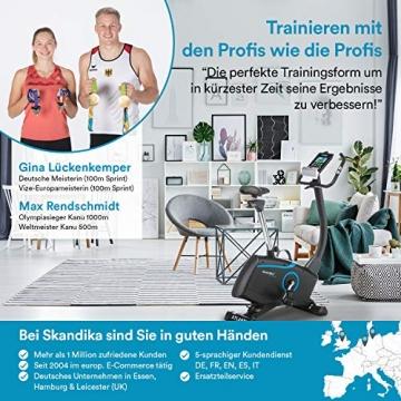 skandika Ergometer Fahrrad Atlantis   Heimtrainer mit App Steuerung (Kinomap, iConsole), Bluetooth, 10kg Schwungmasse, Puls und Körperfettmessung, 32 Stufen, geräuscharm, Transportrollen   bis 150kg - 7