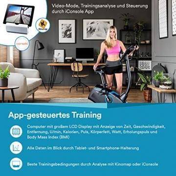 skandika Ergometer Fahrrad Atlantis   Heimtrainer mit App Steuerung (Kinomap, iConsole), Bluetooth, 10kg Schwungmasse, Puls und Körperfettmessung, 32 Stufen, geräuscharm, Transportrollen   bis 150kg - 8