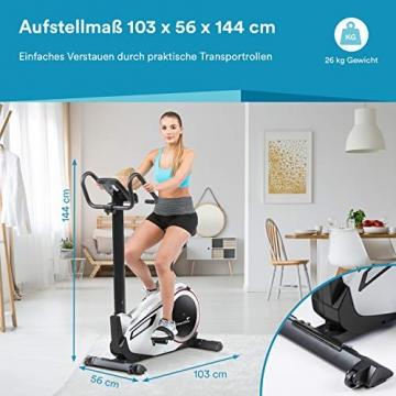 skandika Ergometer Morpheus, Fitnessbike, Heimtrainer mit Steuerung und Street View Funktion, Pulsgurt, 32 einstellbare Widerstandseinstellung und Multifunktionscomputer mit Kalorienverbrauch (silber) - 3