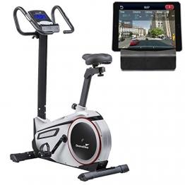 skandika Ergometer Morpheus, Fitnessbike, Heimtrainer mit Steuerung und Street View Funktion, Pulsgurt, 32 einstellbare Widerstandseinstellung und Multifunktionscomputer mit Kalorienverbrauch (silber) - 1