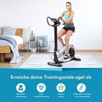 skandika Ergometer Morpheus, Fitnessbike, Heimtrainer mit Steuerung und Street View Funktion, Pulsgurt, 32 einstellbare Widerstandseinstellung und Multifunktionscomputer mit Kalorienverbrauch (silber) - 6