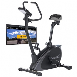 Skandika Ergometer Vinneren Design Hometrainer | Fitness Fahrrad mit Magnetbremssystem, 11kg Schwungmasse, 12 Trainingsprogramme, Tablet-Halterung, Bluetooth und App-Steuerung | grau/schwarz - 1