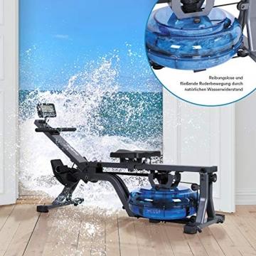 skandika Wasser-Rudergerät Nemo II/III/Compact, Water Ruderzugmaschine mit regulierbarem Wasserwiderstand, Rower mit 130/150 kg Benutzergewicht (Nemo Compact) - 7