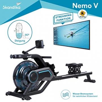 skandika Wasser Rudergerät Nemo IV/V, Water Ruderzugmaschine mit regulierbaren Wasserwiderstand, Double-Slide-Konstruktion   Rower mit Multi-Funktionen Computer + Tablet-Halterung (Nemo V) - 9
