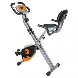 SONGMICS Heimtrainer, Fitnessfahrrad, Hometrainer, klappbar, mit Rückenlehne, Pulsmessung, Handyhalterung, 8 magnetische Widerstandseinstellungen, bis 100 kg belastbar, orange-grau SEB012O01 - 1