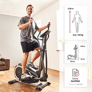 SportPlus Crosstrainer für zuhause - 24 Stufen & 24 Trainingsprogramme, Ergometer mit App Steuerung (u.a. Kinomap), ca. 17 kg Schwungmasse, Sicherheit geprüft bis 150 kg, SP-ET-9600-iE - 2