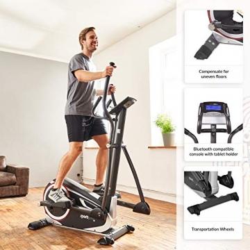 SportPlus Crosstrainer für zuhause - 24 Stufen & 24 Trainingsprogramme, Ergometer mit App Steuerung (u.a. Kinomap), ca. 17 kg Schwungmasse, Sicherheit geprüft bis 150 kg, SP-ET-9600-iE - 4