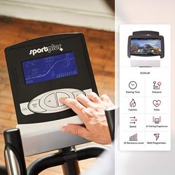 SportPlus Crosstrainer für zuhause - 24 Stufen & 24 Trainingsprogramme, Ergometer mit App Steuerung (u.a. Kinomap), ca. 17 kg Schwungmasse, Sicherheit geprüft bis 150 kg, SP-ET-9600-iE - 5
