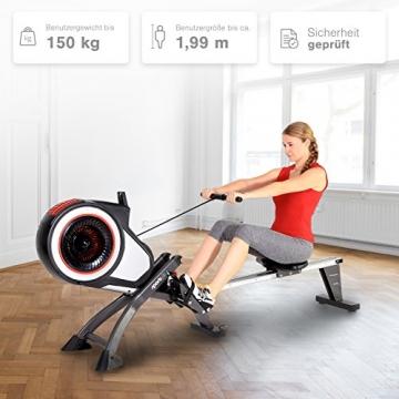 SportPlus Rudergerät mit Luftwiderstand (8 Stufen) - klappbar & mit Rollen, Rudermaschine für zuhause bis 150 kg, geprüfte Sicherheit, SP-MR-010 - 2