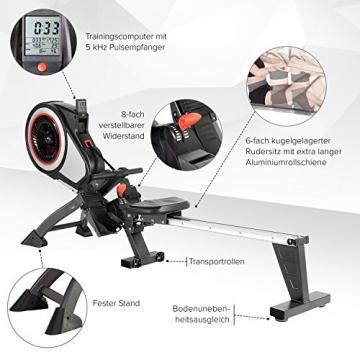 SportPlus Rudergerät mit Luftwiderstand (8 Stufen) - klappbar & mit Rollen, Rudermaschine für zuhause bis 150 kg, geprüfte Sicherheit, SP-MR-010 - 3