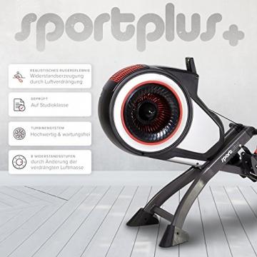SportPlus Rudergerät mit Luftwiderstand (8 Stufen) - klappbar & mit Rollen, Rudermaschine für zuhause bis 150 kg, geprüfte Sicherheit, SP-MR-010 - 5