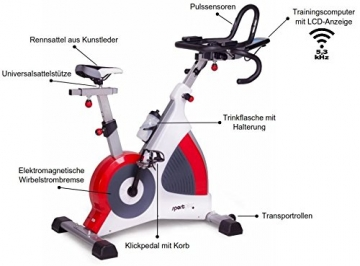 SportPlus Speedracer, TÜV-geprüft, Indoor Cycling Bike in Studioqualität, 50 Widerstandsstufen, Triathlonlenker & Rennsattel, Ergometer bis 500 Watt, Benutzergewicht bis 150 kg, SP-SRP-3000 - 2