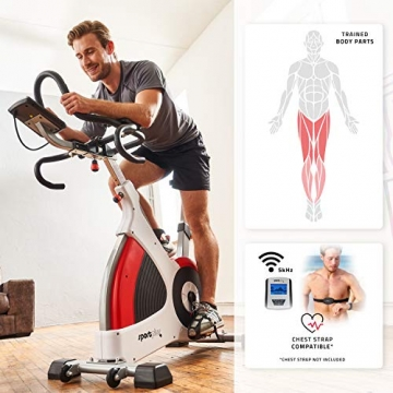 SportPlus Speedracer, TÜV-geprüft, Indoor Cycling Bike in Studioqualität, 50 Widerstandsstufen, Triathlonlenker & Rennsattel, Ergometer bis 500 Watt, Benutzergewicht bis 150 kg, SP-SRP-3000 - 4