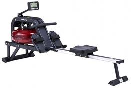 SportPlus Wasserrudergerät für zuhause - Rudergerät mit 6-fach regulierbarem & realistischem Wasserwiderstand, hochwertiger Trainingscomputer mit Rennsimulator, bis 130kg, TÜV geprüfte Sicherheit - 1